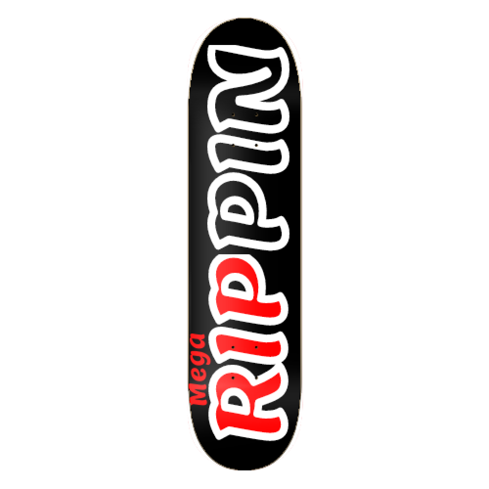 New red and black rippin board graphic name
