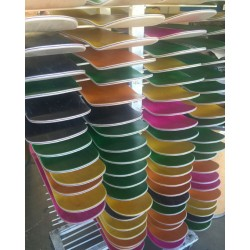 Rack of Skateboards With Stain Veneer